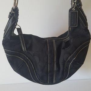 COACH SIGNATURE BLACK CANVAS HOBO BAG